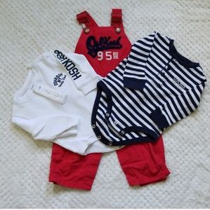 9M- Oshkosh Bodysuit with Red Overall